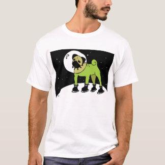 Camiseta O Pug do espaço vai à lua