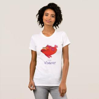 Camiseta O que arte lunática dos peixes no vermelho e no