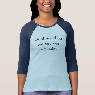 Camiseta O que nós pensamos o T do basebol das mulheres de