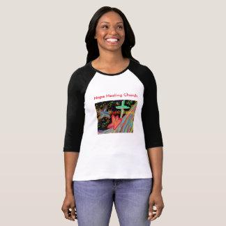 Camiseta O Raglan cura Jesus da igreja da esperança salvar