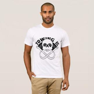 Camiseta O reboque é logotipo do Rad com ganchos e pneu de
