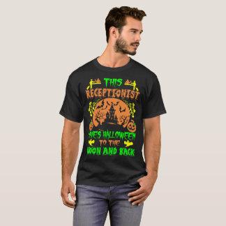 Camiseta O recepcionista ama a lua do Dia das Bruxas e o