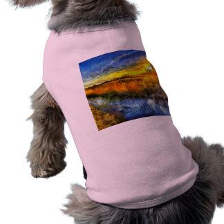 Camiseta O rio Van Gogh do por do sol