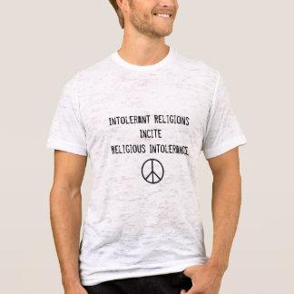 Camiseta O sinal de paz, religiões intolerantes estimula