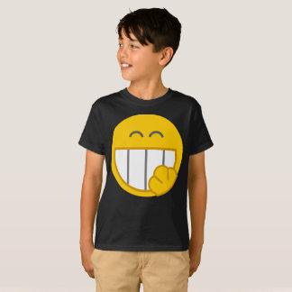 Camiseta O smiley que ri o cobrir amarelo da cara caçoa o