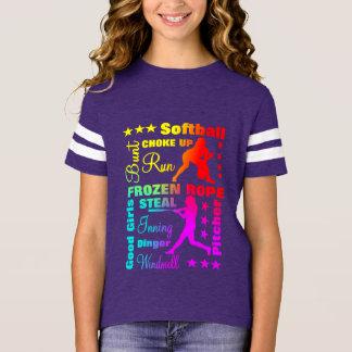 Camiseta O softball ostenta a tipografia do arco-íris de