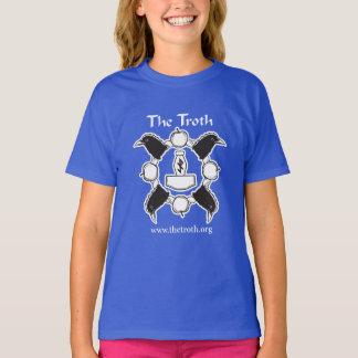 Camiseta O T da menina do Troth B&W (escuro)