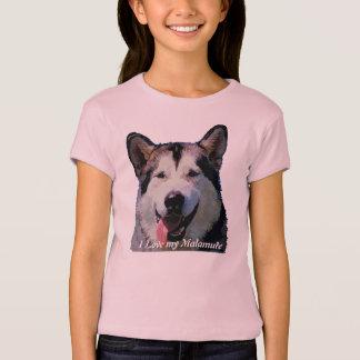 """Camiseta O T das crianças de """"Kiska"""" do Malamute do"""