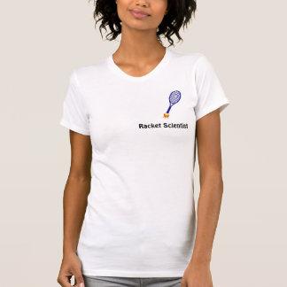 Camiseta O T das mulheres do cientista da raquete -