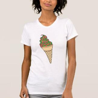 Camiseta O T das mulheres do cone do bastão de doces
