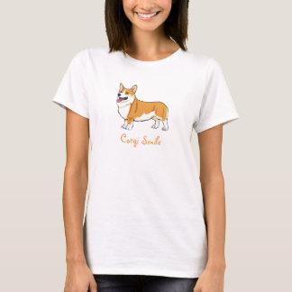 Camiseta O T das mulheres do sorriso do Corgi