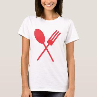 Camiseta O T das mulheres vermelhas de Spork
