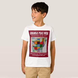 Camiseta O T do miúdo da semana da paz