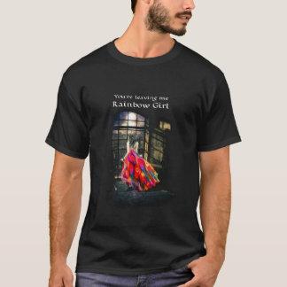 Camiseta O T dos homens da menina do arco-íris