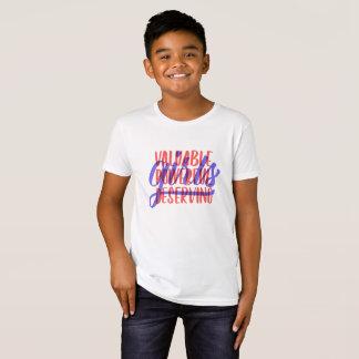 Camiseta O T dos miúdos de merecimento poderosos valiosos