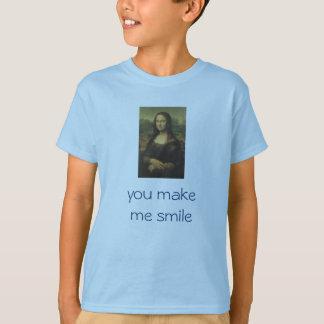 """Camiseta O T Mona Lisa do miúdo """"você faz-me sorrir """""""