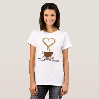 Camiseta O t-shirt básico das mulheres do café,