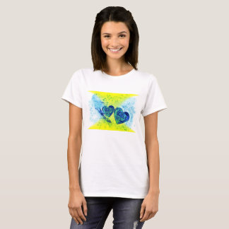 Camiseta O t-shirt básico das mulheres do coração