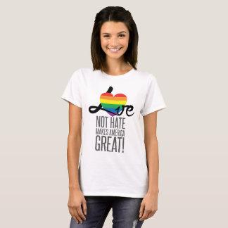 Camiseta O t-shirt básico das mulheres do ódio do amor não
