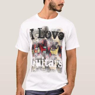 Camiseta O t-shirt básico dos homens, EU AMO GUITARRA