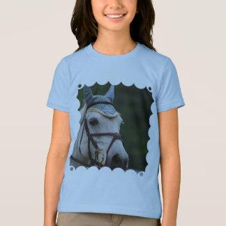 Camiseta O t-shirt bonito da menina branca do pônei