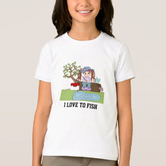 Camiseta O t-shirt bonito da menina da pesca