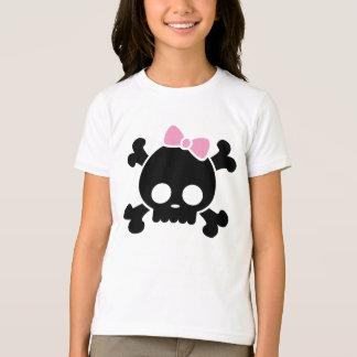 Camiseta O t-shirt bonito da menina preta do crânio