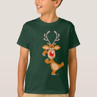 Camiseta O t-shirt bonito das crianças da rena dos desenhos