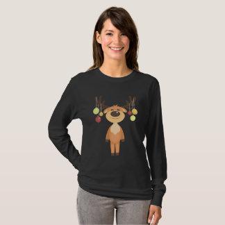 Camiseta O t-shirt bonito das mulheres da rena do Natal