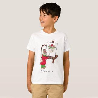 Camiseta O t-shirt branco do miúdo com projeto do gato