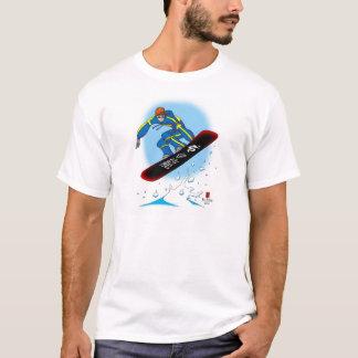 Camiseta O t-shirt branco do Snowboarder do dragão