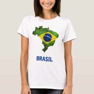 Camiseta O t-shirt da bandeira de Brasil (senhoras)