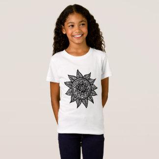 Camiseta O t-shirt da menina da arte da flor
