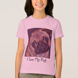 Camiseta O t-shirt da menina da cara do filhote de cachorro