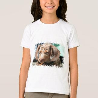 Camiseta O t-shirt da menina do cão de Daschund