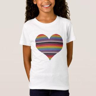 Camiseta O t-shirt da menina do coração do cabo de fita do
