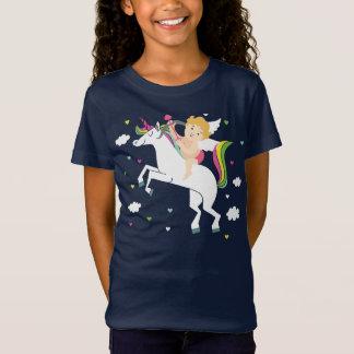 Camiseta O t-shirt da menina do unicórnio do Cupido
