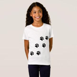 Camiseta O t-shirt da menina preto e branco do teste padrão