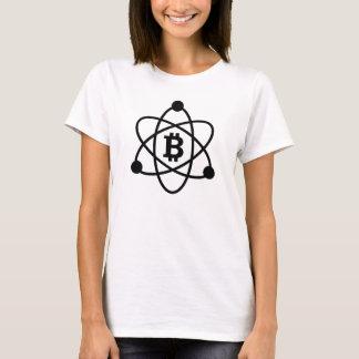 """Camiseta O t-shirt da mulher do """"átomo"""" de Bitcoin (btc)"""