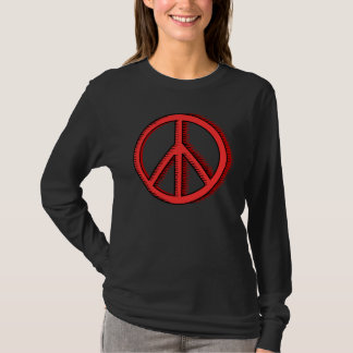 Camiseta O t-shirt da mulher vermelha do sinal de paz