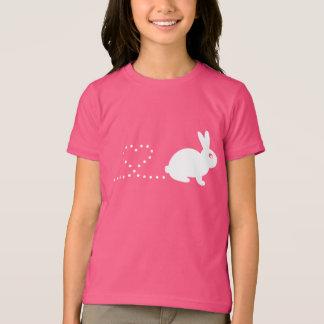 Camiseta O t-shirt das crianças do coelho do coração de