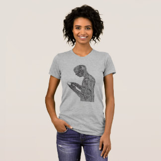 Camiseta O t-shirt das mulheres americanas da oração (cinza