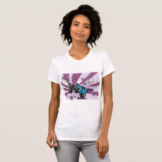 Camiseta O t-shirt das mulheres azuis da guitarra