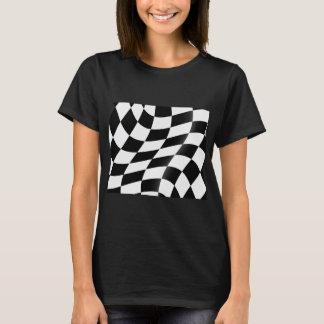 Camiseta O t-shirt das mulheres Checkered preto e branco da