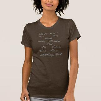 Camiseta O t-shirt das mulheres com nomes unisex na parte