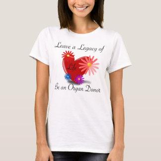 Camiseta O t-shirt das mulheres da doação de órgão