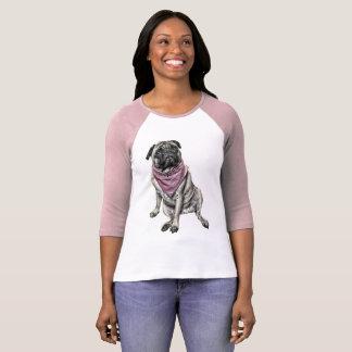 Camiseta O t-shirt das mulheres da imagem do cão do Pug