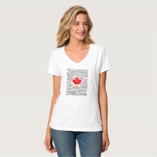 Camiseta O t-shirt das mulheres da lista do jogo de Canadá