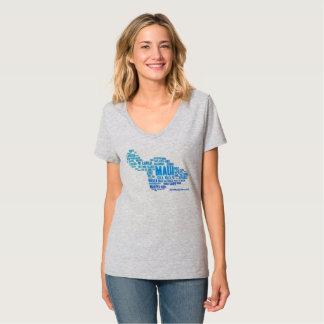 Camiseta O t-shirt das mulheres da nuvem da palavra de Maui