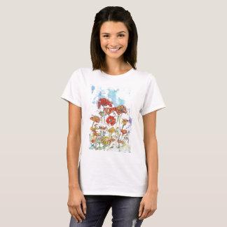 Camiseta O t-shirt das mulheres das papoilas do mosaico